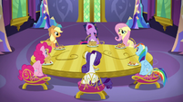 Mane Six sitting around dining room table S5E3