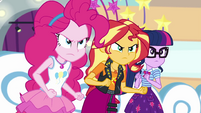 Pinkie, Sunset, and Twilight angry at Vignette EGROF