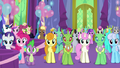 Ponies and changelings in dining hall left side S7E1.png