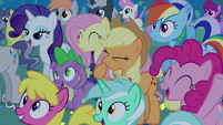 Ponies cheer for Celestia and Luna S4E02
