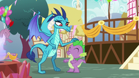 Princess Ember pats Spike on the head S7E15