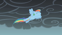 Rainbow Dash jumps through the air S1E07