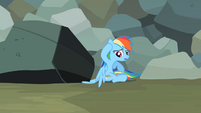 Rainbow Dash sees wing stuck under rock S2E07
