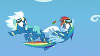 Rainbow and Fleetfoot dodge a flying firecracker S7E7