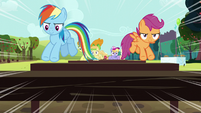 Rainbow and Scootaloo jumping hurdles S5E17
