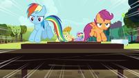 Rainbow and Scootaloo jumping hurdles S5E17