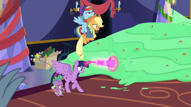 File:Rainbow carries Applejack away from pudding MLPBGE.png