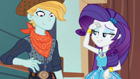 Rarity finishes the cowboy costume EGROF