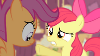 Apple Bloom pointing at Scootaloo S4E05