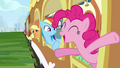 Applejack, Rainbow Dash and Pinkie Pie on train S2E25.png
