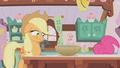 Applejack looks at grey cupcake mixture S1E04.png