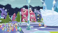 Applejack speaking to the crowd of Crystal Ponies S6E2