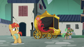 Colt's flower floats toward Sable Spirit's carriage S7E16.png
