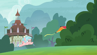 Cozy Glow chases kite into the bushes S8E12