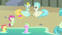 Hippogriffs and seaponies playing together S8E6
