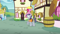 Pinkie pops out of Steam Roller's hard hat S8E3