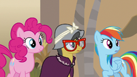 Rainbow, Pinkie, and A. K. hear Dr. Caballeron S7E18