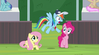 Rainbow Dash jumping with shock S9E15