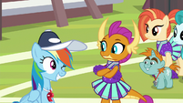 Rainbow Dash winking at Smolder S9E15