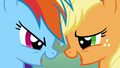 Rainbow and Applejack laughing S1E13.png