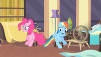 Rainbow and Pinkie looking down S4E08