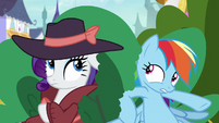 Rarity and Rainbow crouching in the bushes S9E4