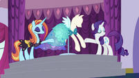 Rarity and Sassy reveal new dress S5E14