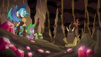 Spike and Ember face the crunching rocks S6E5