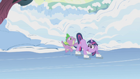 Spike pushes Twilight onto the ice S1E11