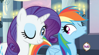 20120423012846!Rarity & Rainbow Dash wink S2E25