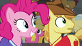 Braeburn and Pinkie looking at Pinkie's shot S6E18.png