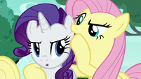 Fluttershy Changeling whispering in Rarity's ear S6E25