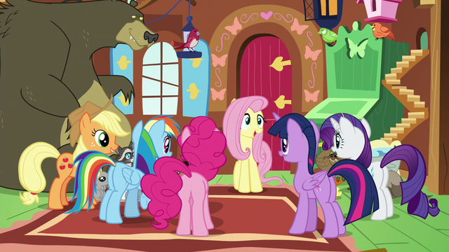 File:Main ponies happy to help Fluttershy S7E5.png
