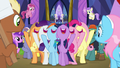 Mane Six sing in the middle of the crowd S7E14.png