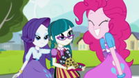 Rarity, Juniper Montage, and Pinkie Pie smiling EGS3