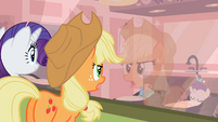 Rarity and Applejack looking at the foals S2E13