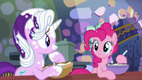 Starlight and Pinkie Pie look at each other S6E21
