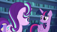 Twilight and Starlight smile with satisfaction S6E21