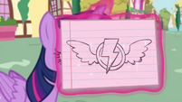 Twilight levitating a flash card showing the Wonderbolts insignia S4E21