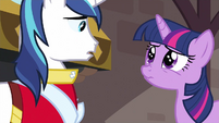 Twilight trying to warn Shining Armor S2E25