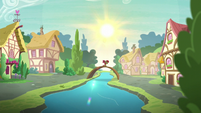 Apple Bloom moping on a bridge while the sun shines bright S6E4