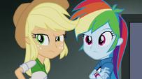 Applejack and Rainbow hear Trixie's voice EG2