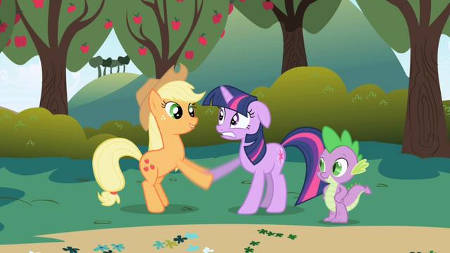 Файл:Applejack greets Twilight S1E1.png
