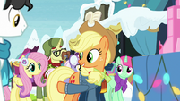 Applejack pointing at Fluttershy MLPBGE