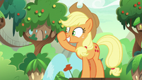 Applejack rubbing her nose S8E23