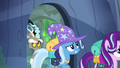 Discord, Starlight, and Trixie following Thorax S6E25.png