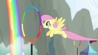 Fluttershy flying through hoops S4E10
