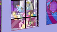 Fluttershy looking out a castle window S9E17