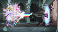 Mane Six and Pillars blast Pony of Shadows with rainbows S7E26