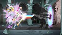 Mane Six and Pillars blast Pony of Shadows with rainbows S7E26